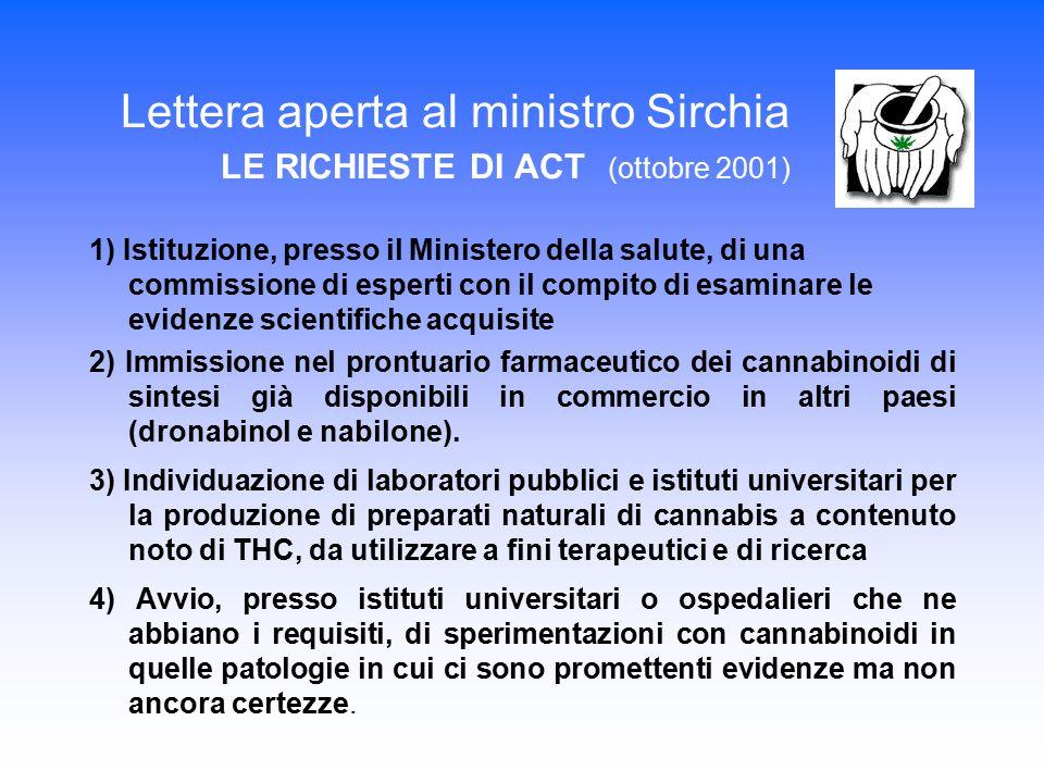 Lettera aperta al ministro Sirchia LE RICHIESTE DI ACT (ottobre 2001)