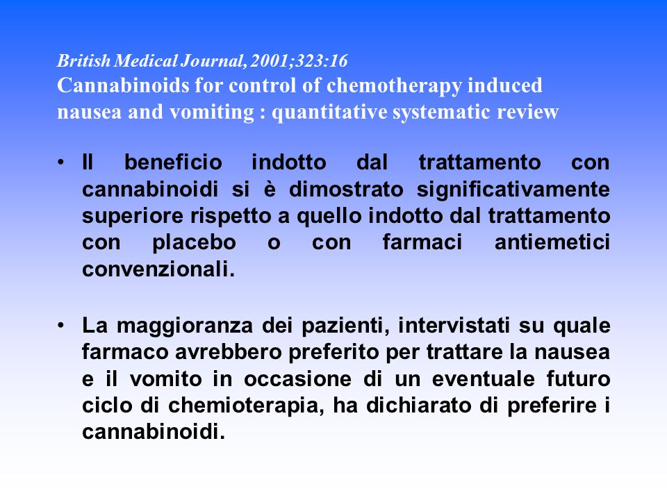 British Medical Journal, 2001;323:16 Cannabinoids for control of chemotherapy induced nausea and vomiting : quantitative systematic review