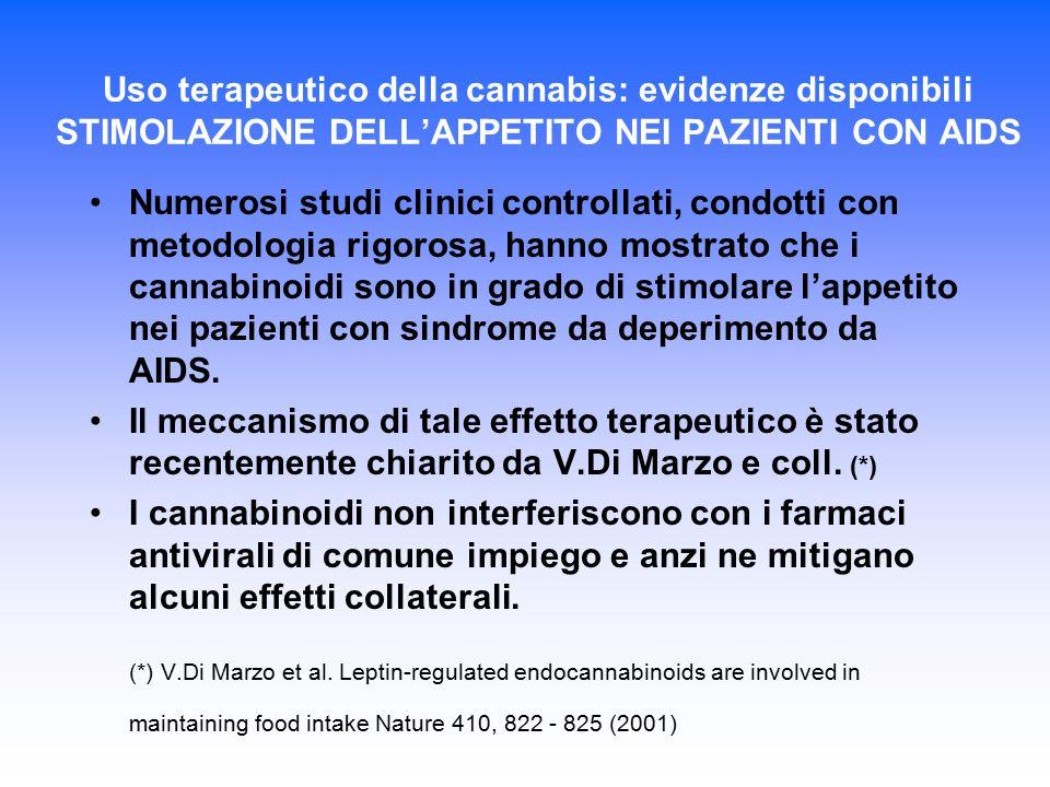 Uso terapeutico della cannabis: evidenze disponibili STIMOLAZIONE DELL'APPETITO NEI PAZIENTI CON AIDS