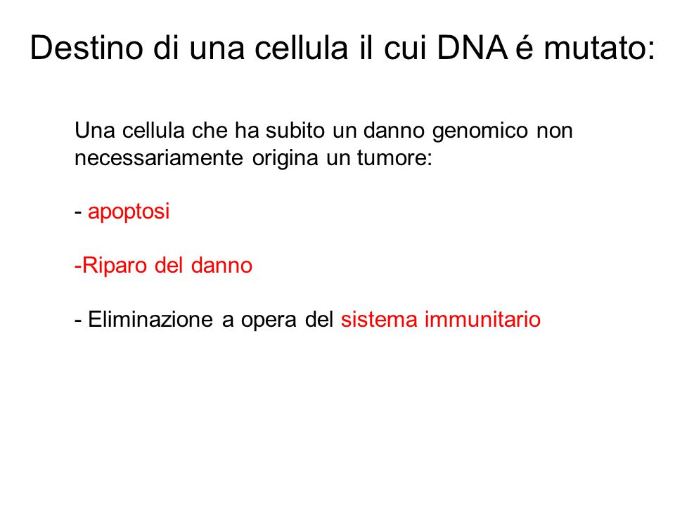 Destino di una cellula il cui DNA é mutato: