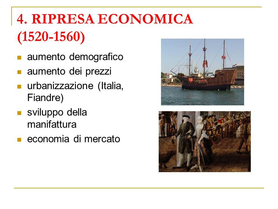4. RIPRESA ECONOMICA (1520-1560) aumento demografico