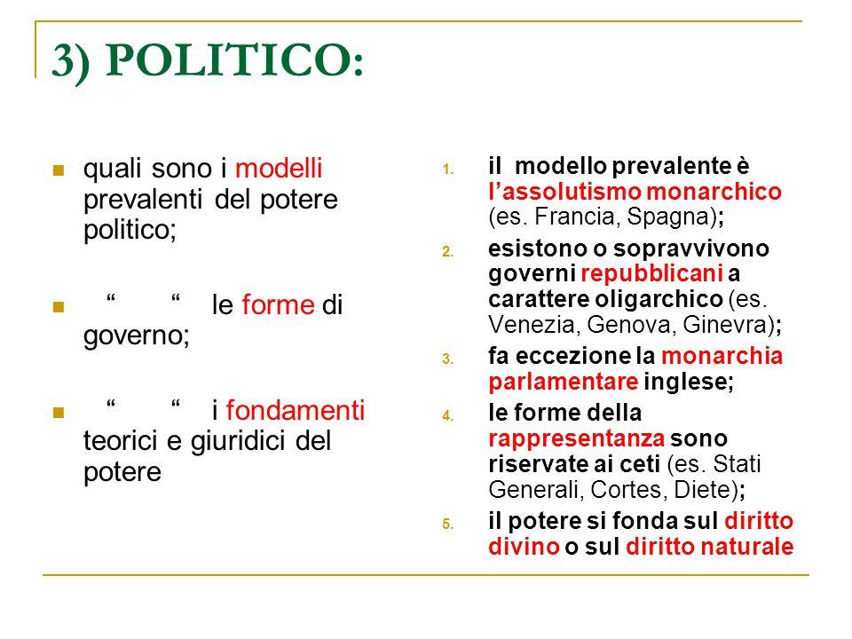 3) POLITICO: quali sono i modelli prevalenti del potere politico;