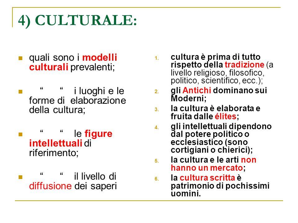 4) CULTURALE: quali sono i modelli culturali prevalenti;