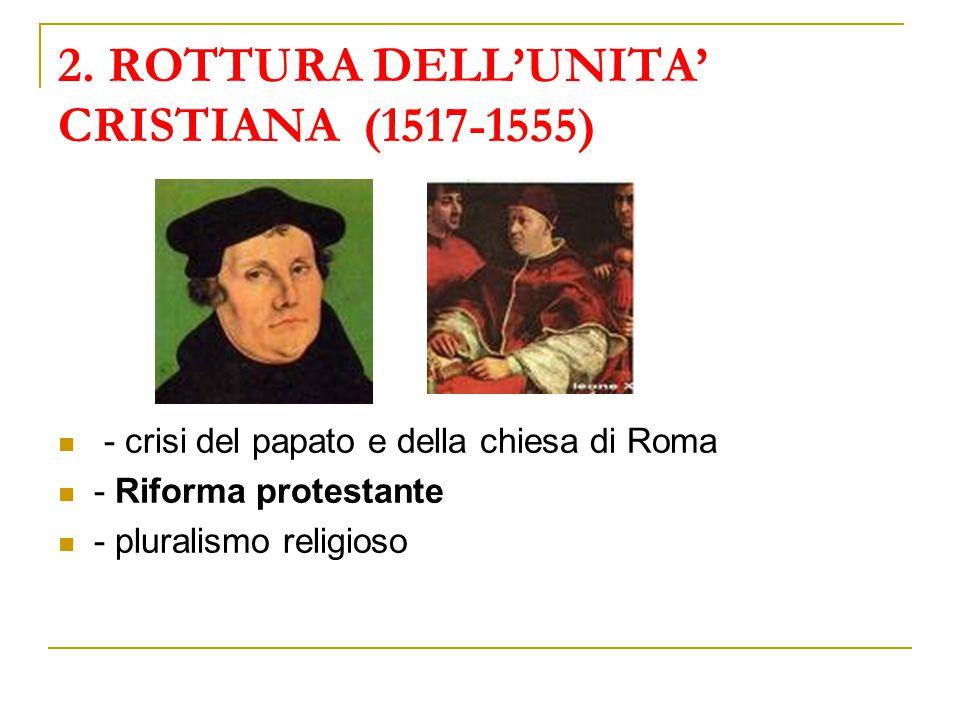 2. ROTTURA DELL'UNITA' CRISTIANA (1517-1555)