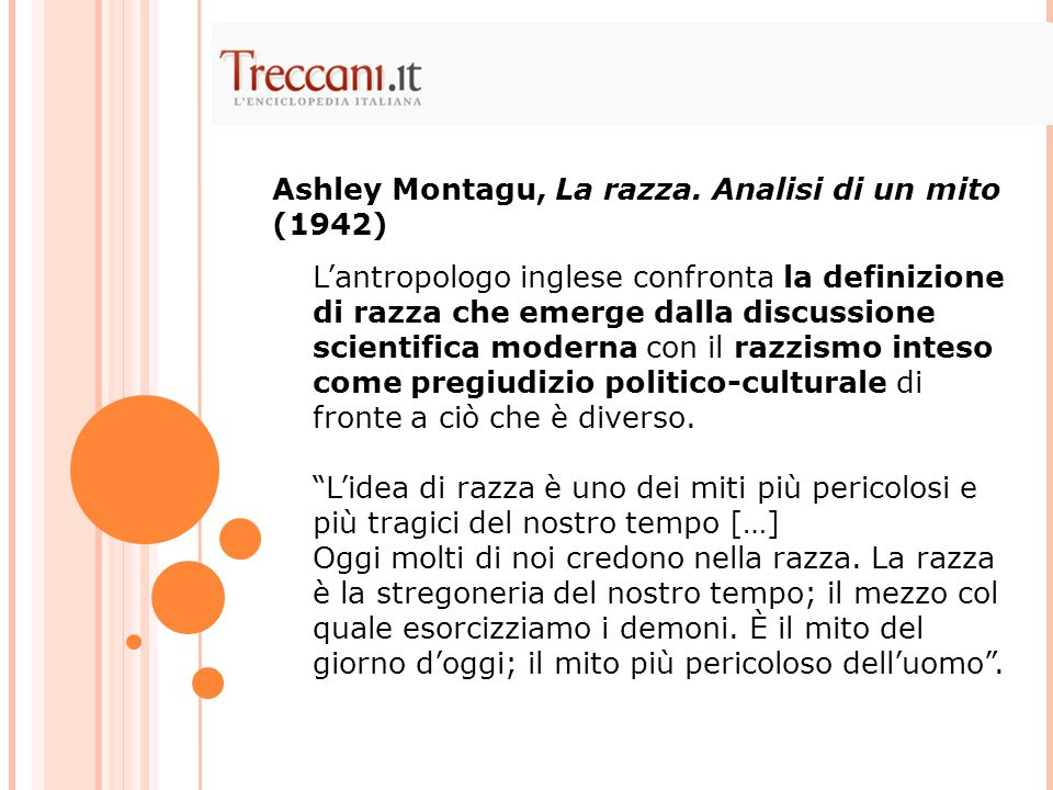Ashley Montagu, La razza. Analisi di un mito (1942)