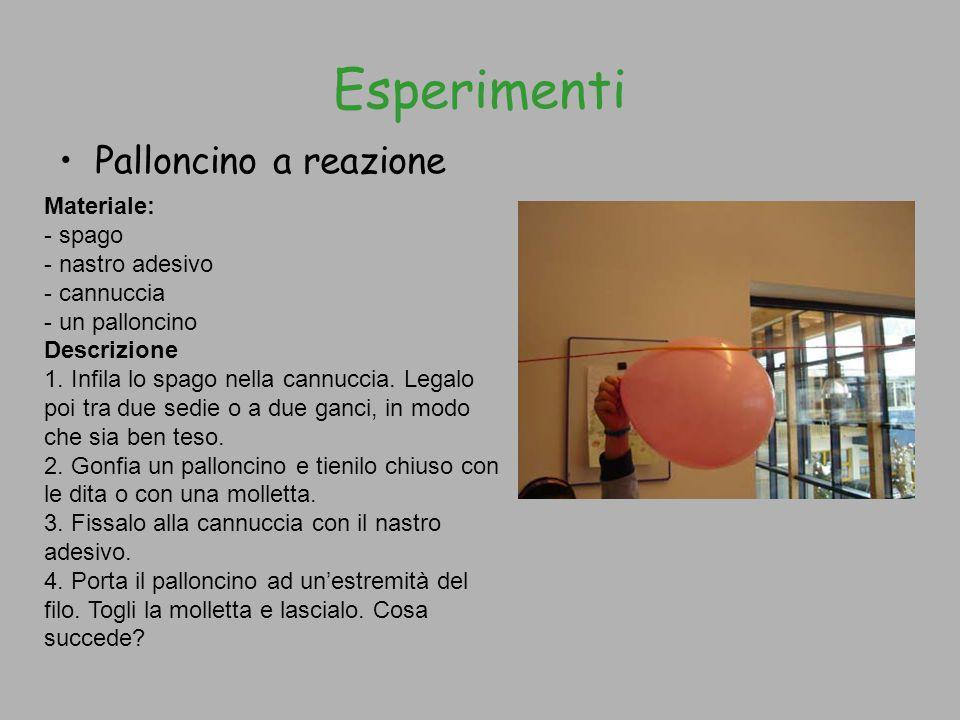 Esperimenti Palloncino a reazione Materiale: - spago - nastro adesivo
