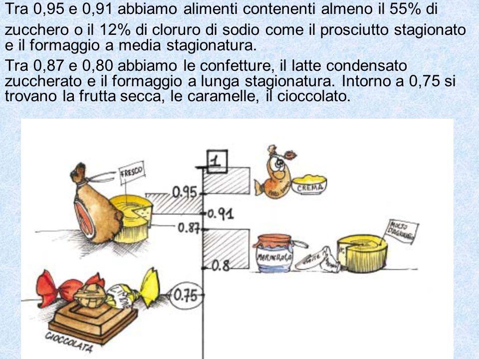 Tra 0,95 e 0,91 abbiamo alimenti contenenti almeno il 55% di