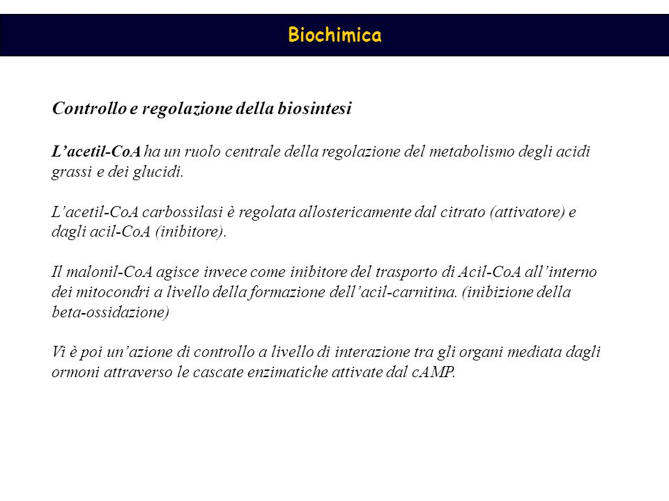 Controllo e regolazione della biosintesi