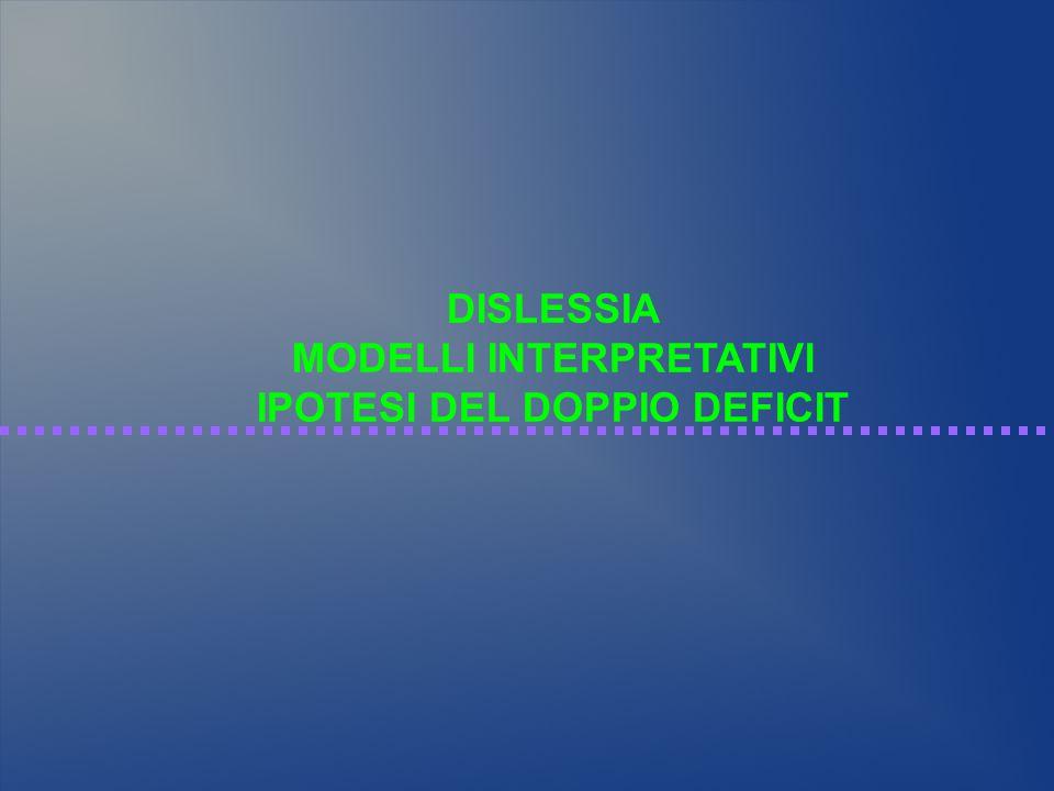 MODELLI INTERPRETATIVI IPOTESI DEL DOPPIO DEFICIT