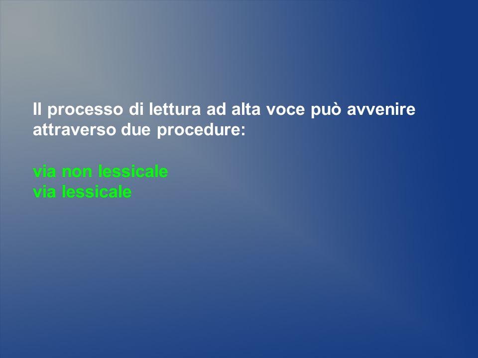 Il processo di lettura ad alta voce può avvenire attraverso due procedure: