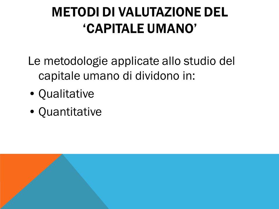Metodi di valutazione del 'capitale umano'