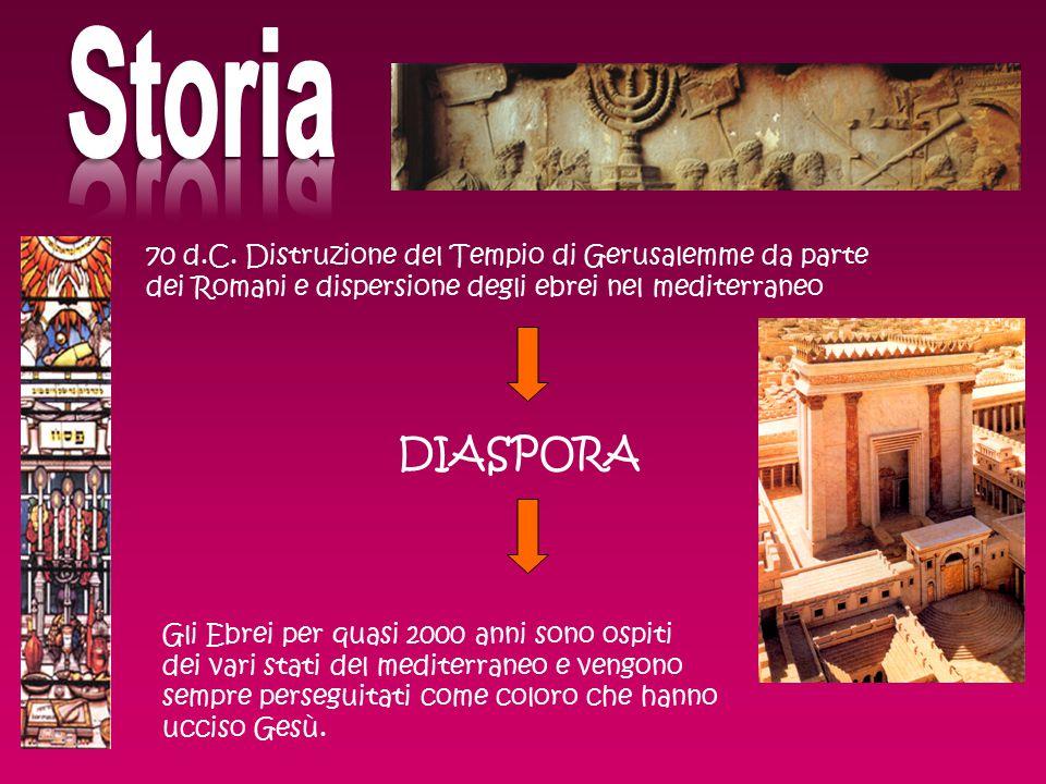 Storia 70 d.C. Distruzione del Tempio di Gerusalemme da parte dei Romani e dispersione degli ebrei nel mediterraneo.