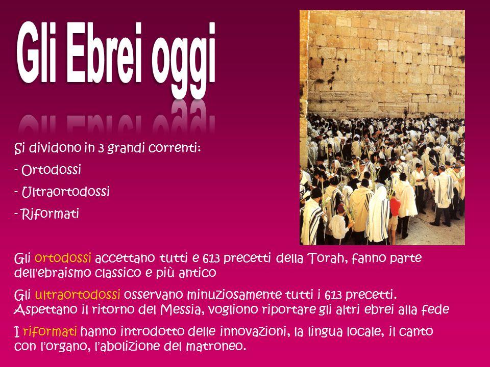 Gli Ebrei oggi Si dividono in 3 grandi correnti: Ortodossi