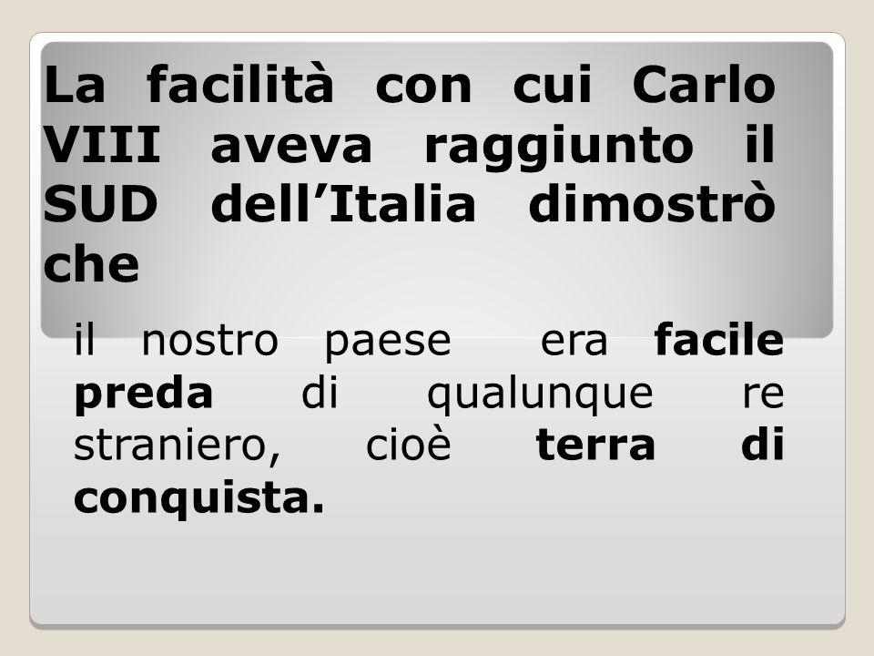 La facilità con cui Carlo VIII aveva raggiunto il SUD dell'Italia dimostrò che