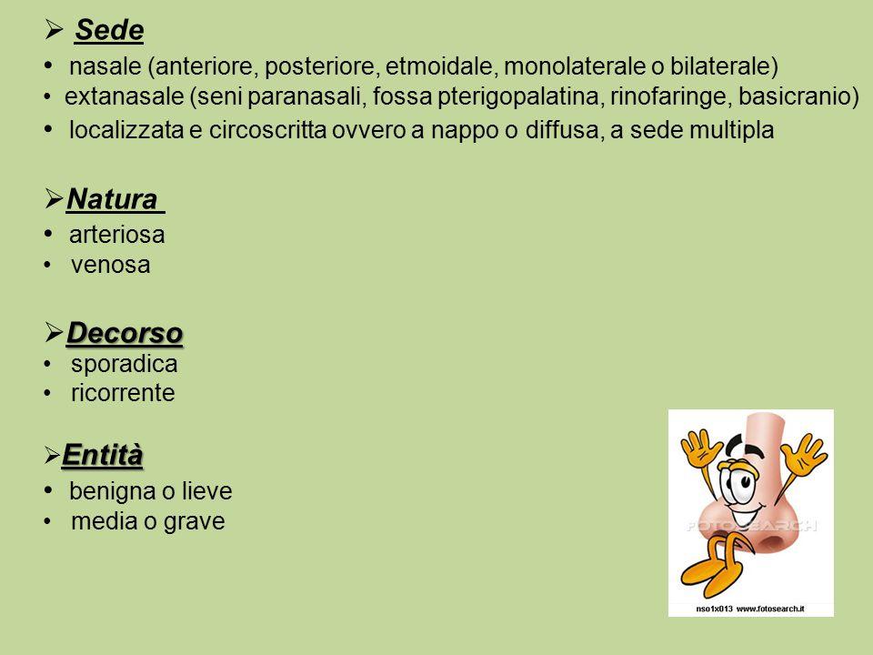 nasale (anteriore, posteriore, etmoidale, monolaterale o bilaterale)