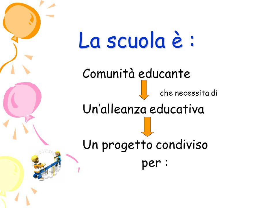 La scuola è : Comunità educante che necessita di Un'alleanza educativa