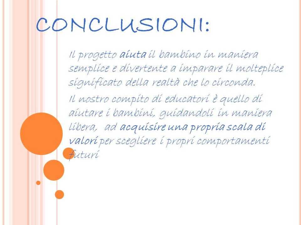 CONCLUSIONI: Il progetto aiuta il bambino in maniera semplice e divertente a imparare il molteplice significato della realtà che lo circonda.