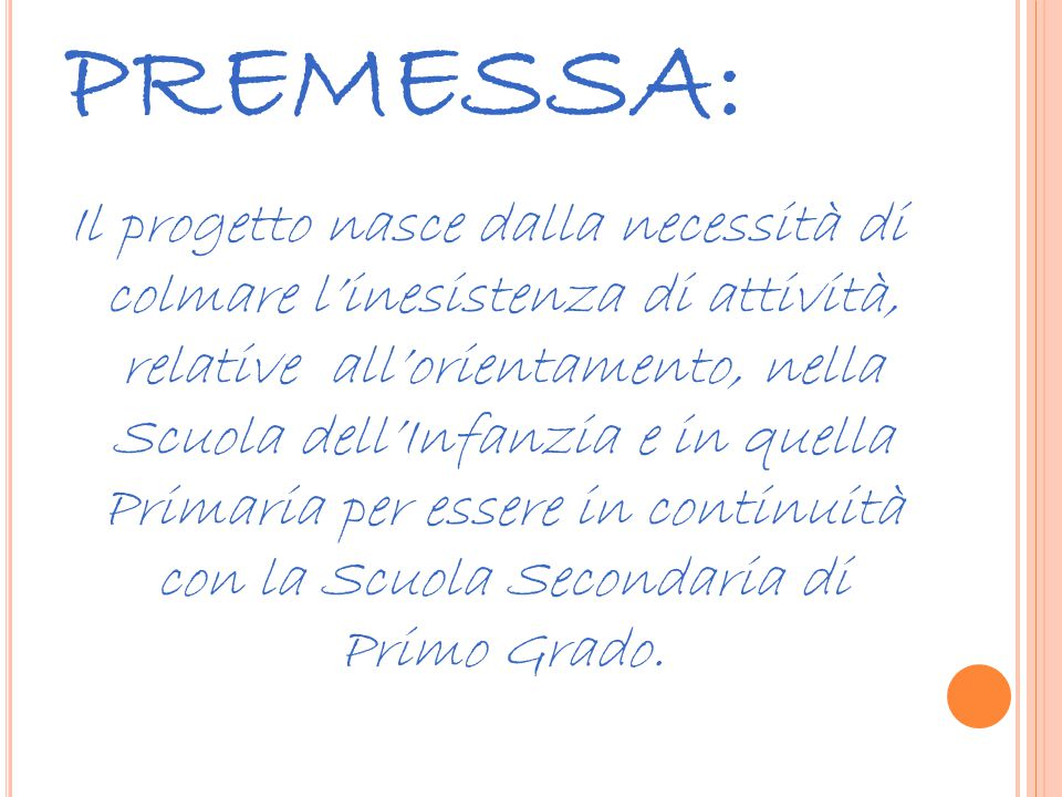 PREMESSA: