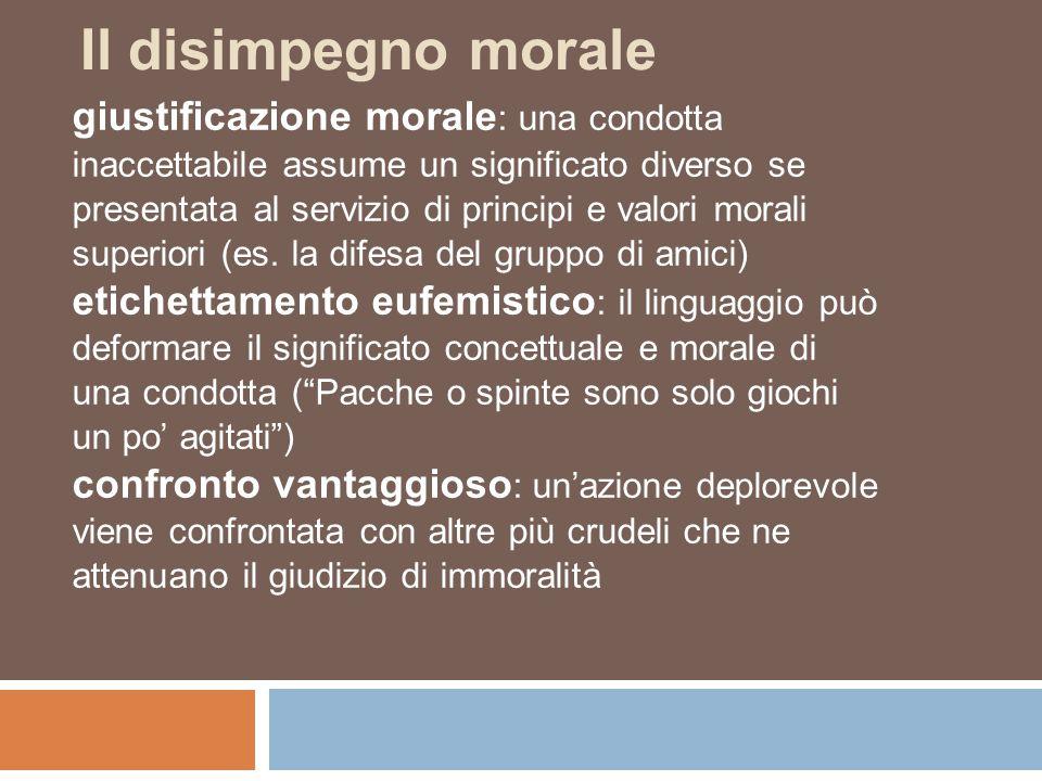 Il disimpegno morale giustificazione morale: una condotta