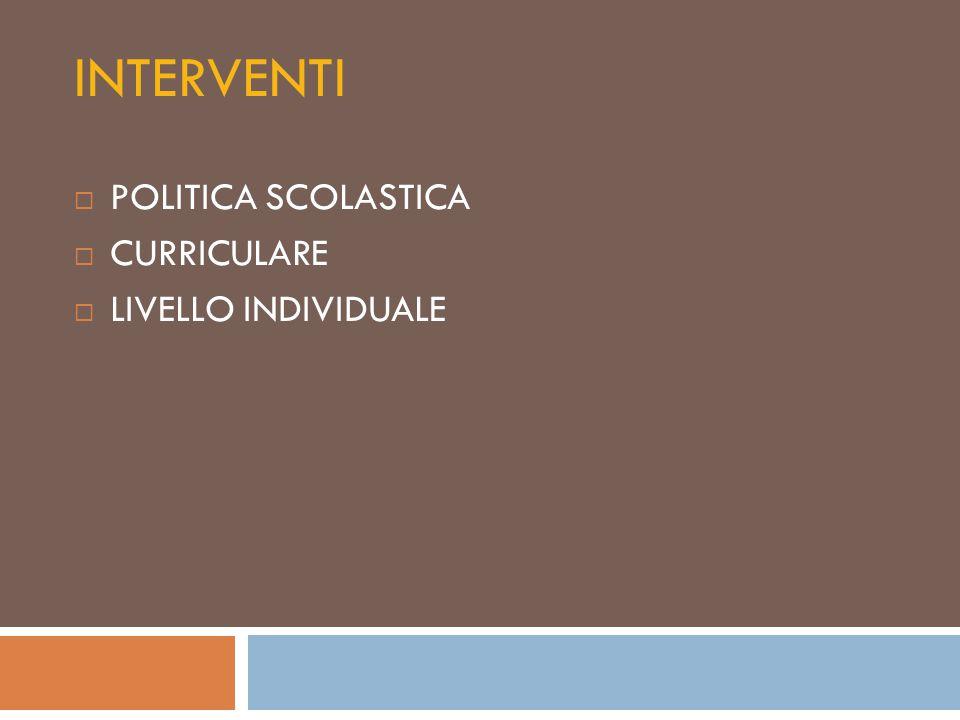 INTERVENTI POLITICA SCOLASTICA CURRICULARE LIVELLO INDIVIDUALE