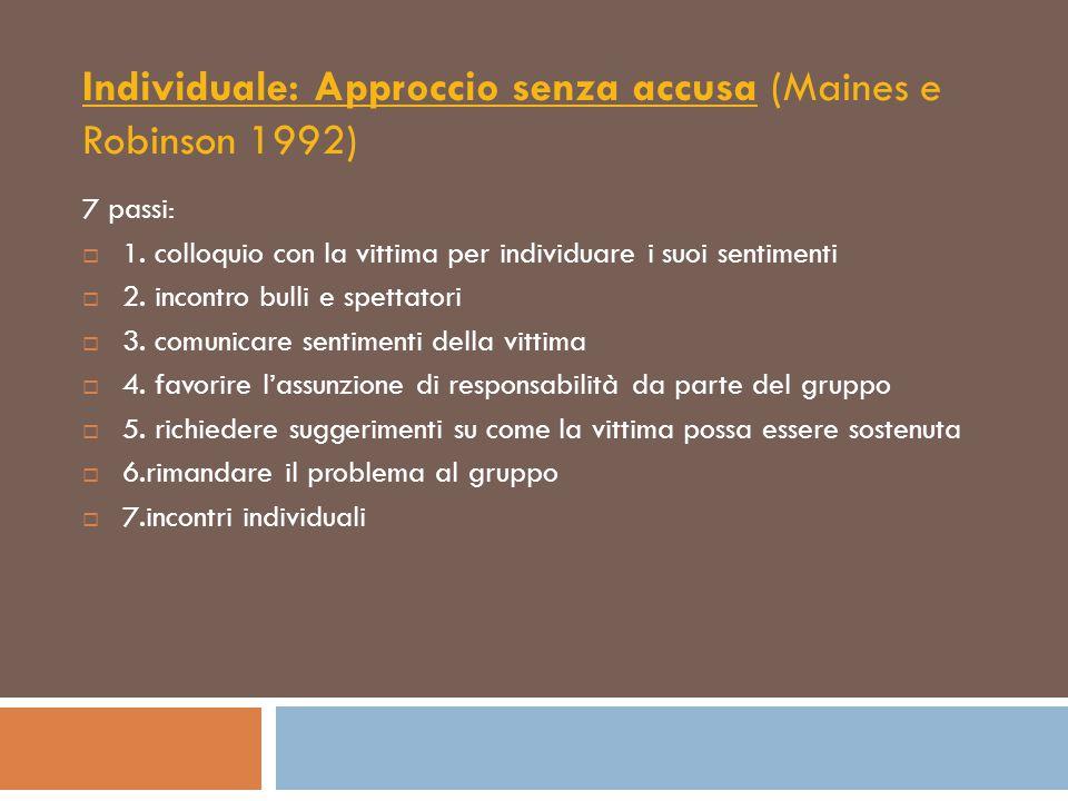 Individuale: Approccio senza accusa (Maines e Robinson 1992)