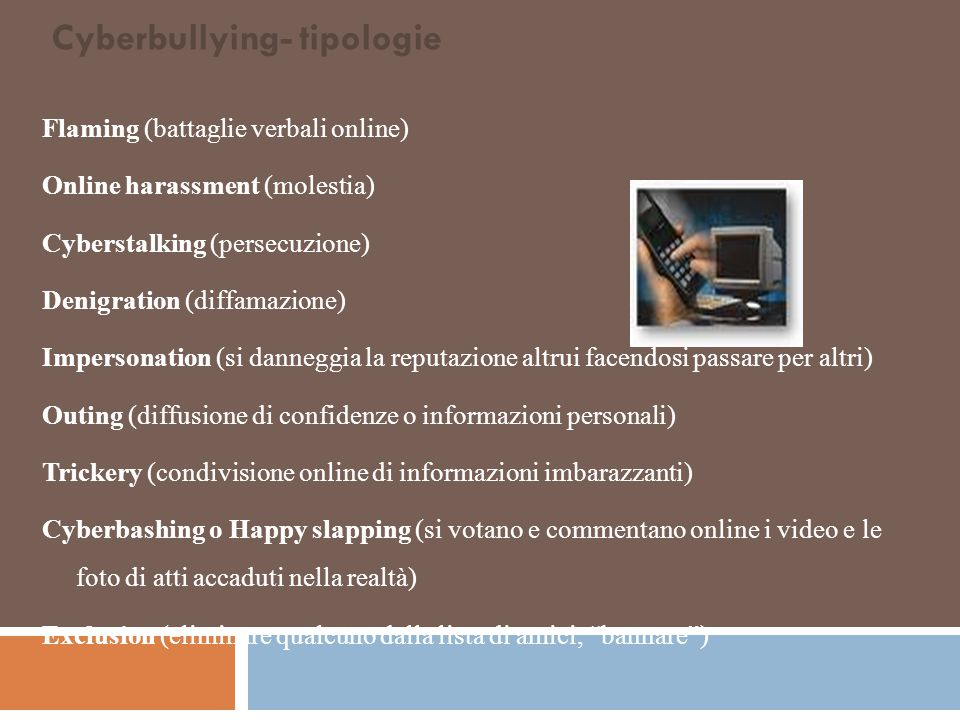 Cyberbullying- tipologie
