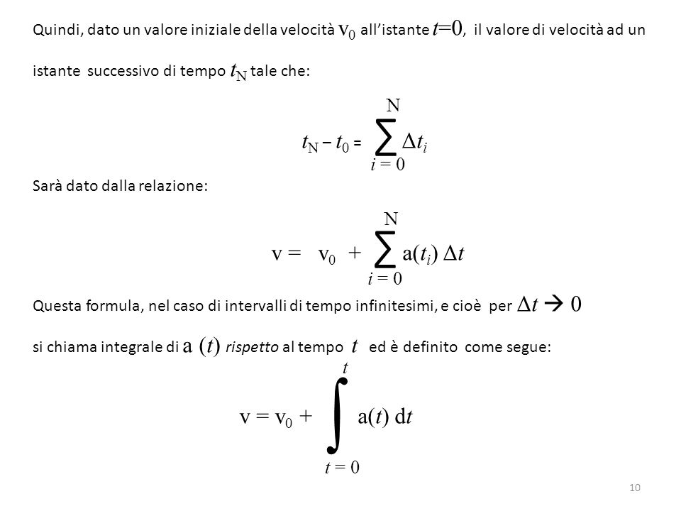 ∫ v = v0 + ∑ a(ti) Δt N i = 0 N i = 0 t t = 0