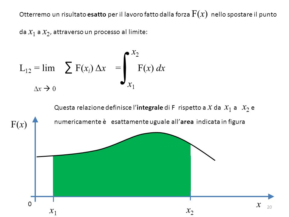 ∫ L12 = lim ∑ F(xi) Δx = F(x) dx Δx  0 x2 x1 F(x) x x1 x2