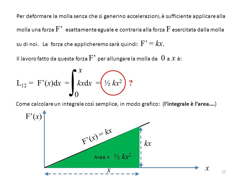 ∫ L12 = F'(x)dx = kxdx = ½ kx2 x F'(x) F'(x) = kx kx x