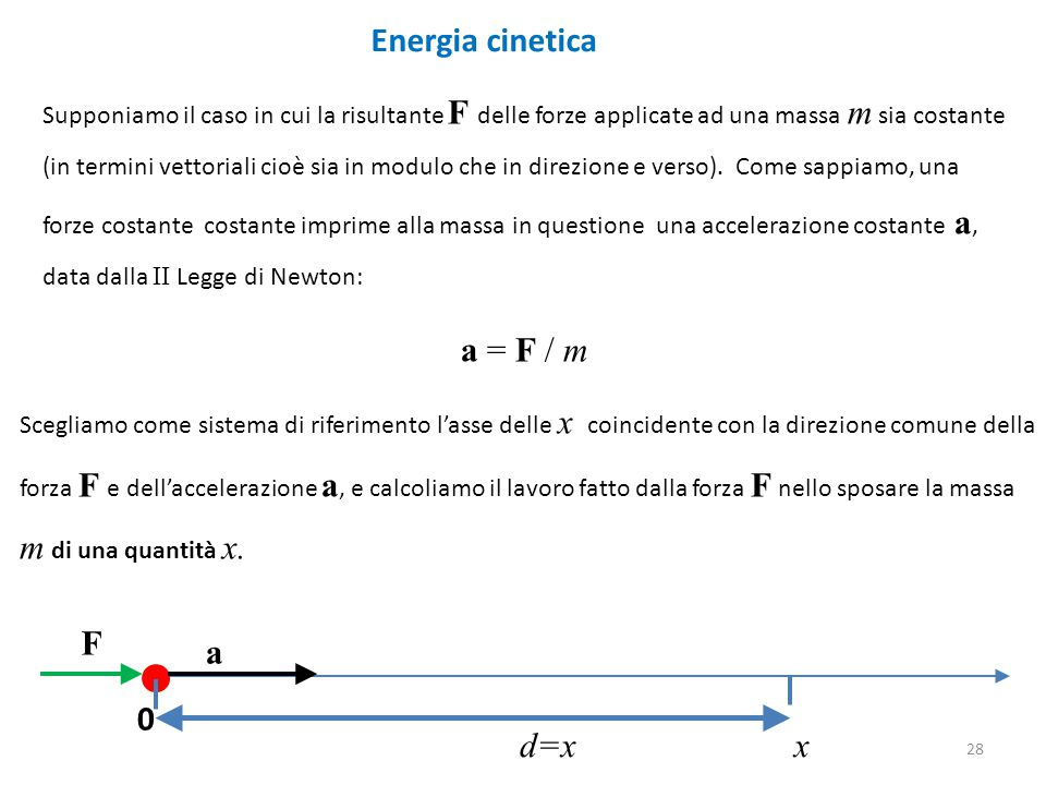 Energia cinetica a = F / m m di una quantità x. F a x d=x x