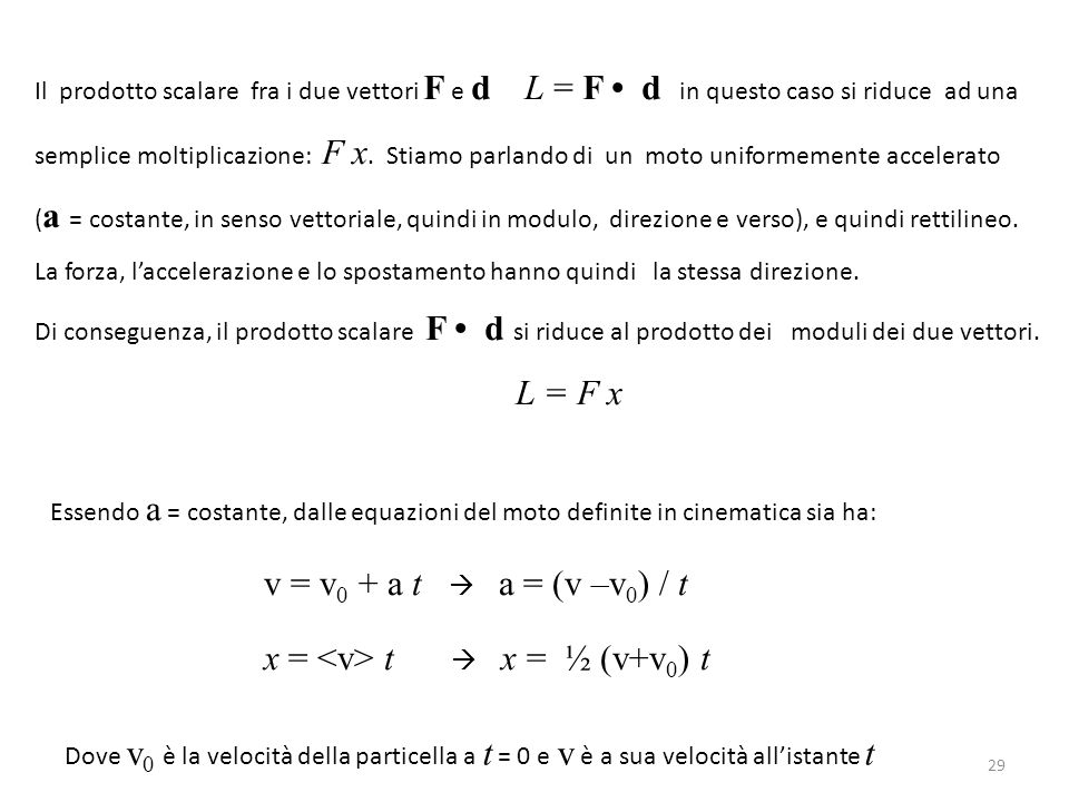 Il prodotto scalare fra i due vettori F e d L = F • d in questo caso si riduce ad una