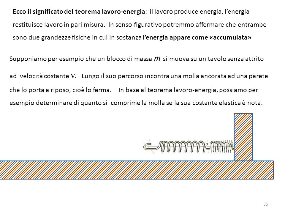 Ecco il significato del teorema lavoro-energia: il lavoro produce energia, l'energia