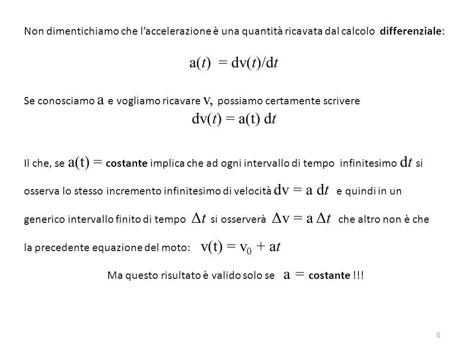 Ma questo risultato è valido solo se a = costante !!!