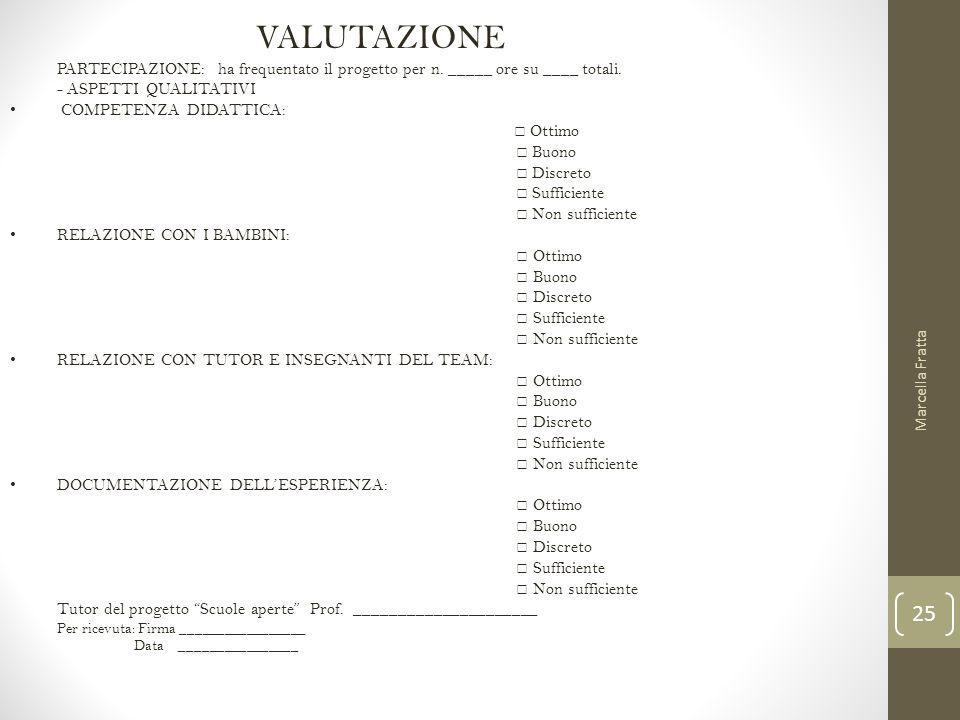 VALUTAZIONE PARTECIPAZIONE: ha frequentato il progetto per n. _____ ore su ____ totali. - ASPETTI QUALITATIVI.