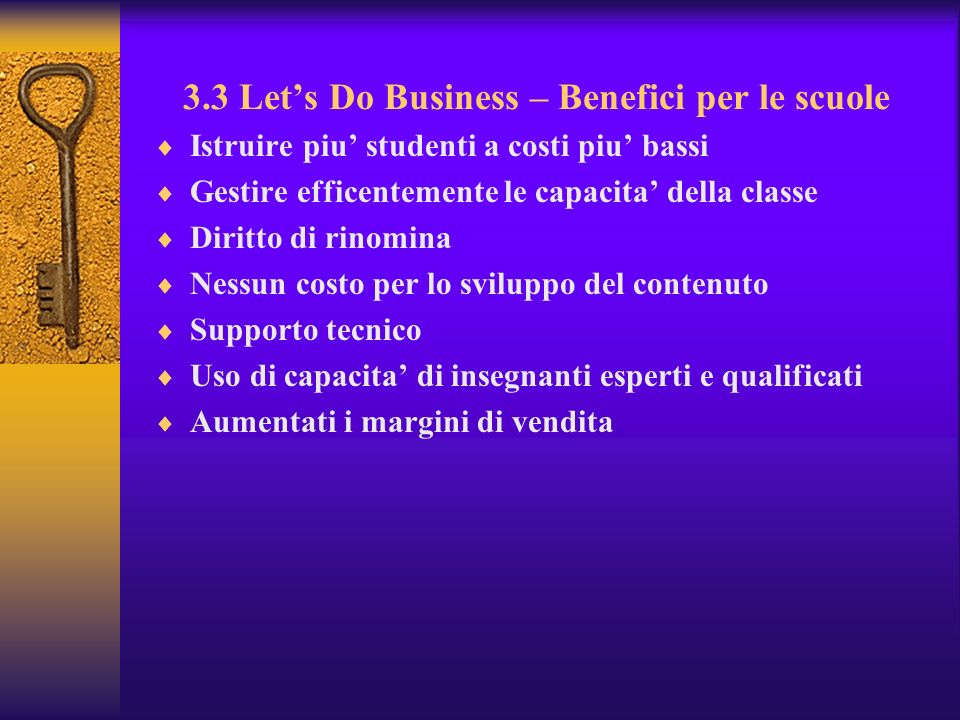 3.3 Let's Do Business – Benefici per le scuole