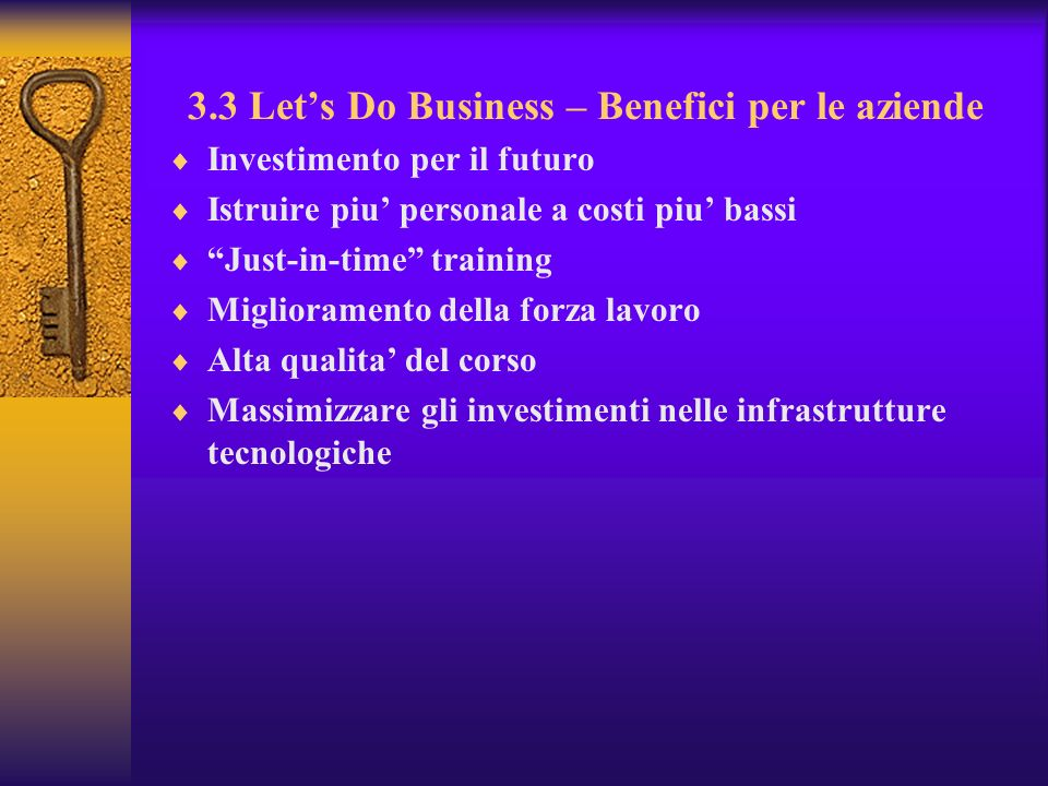 3.3 Let's Do Business – Benefici per le aziende