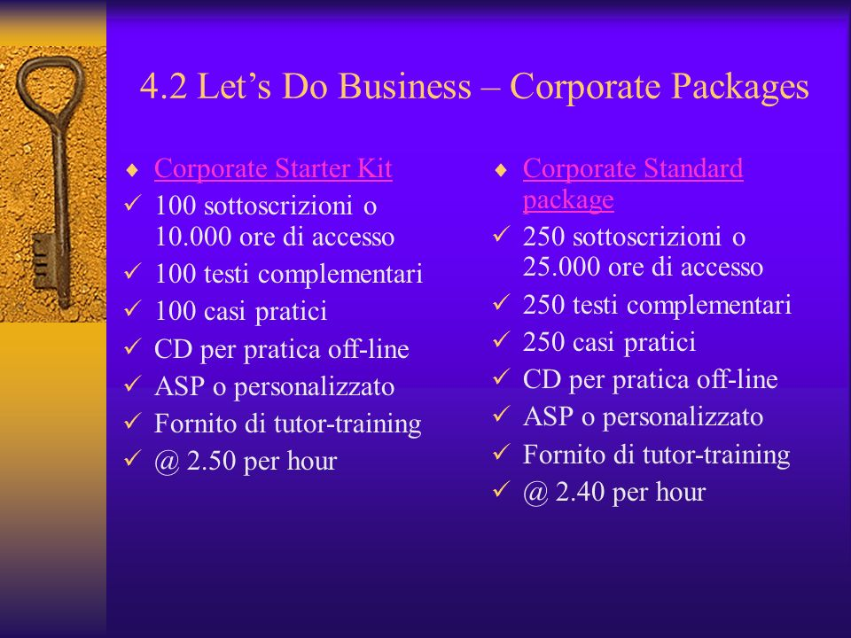 4.2 Let's Do Business – Corporate Packages