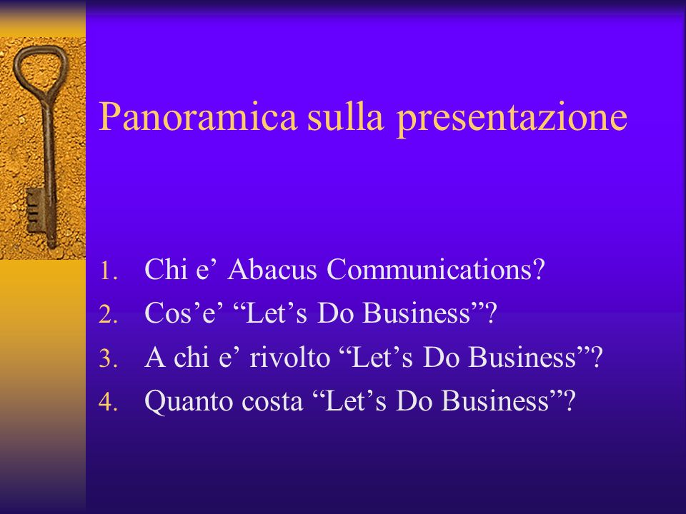 Panoramica sulla presentazione