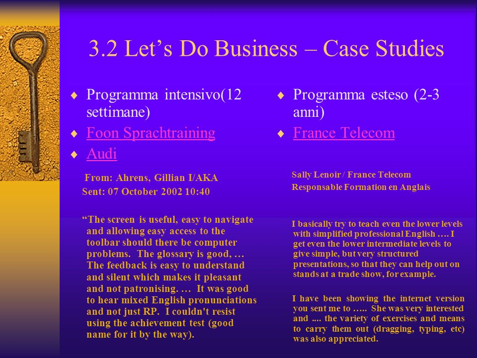 3.2 Let's Do Business – Case Studies