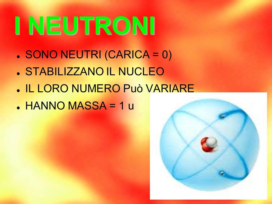 I NEUTRONI SONO NEUTRI (CARICA = 0) STABILIZZANO IL NUCLEO