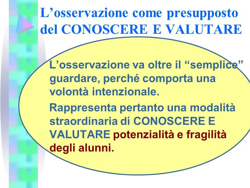 L'osservazione come presupposto del CONOSCERE E VALUTARE