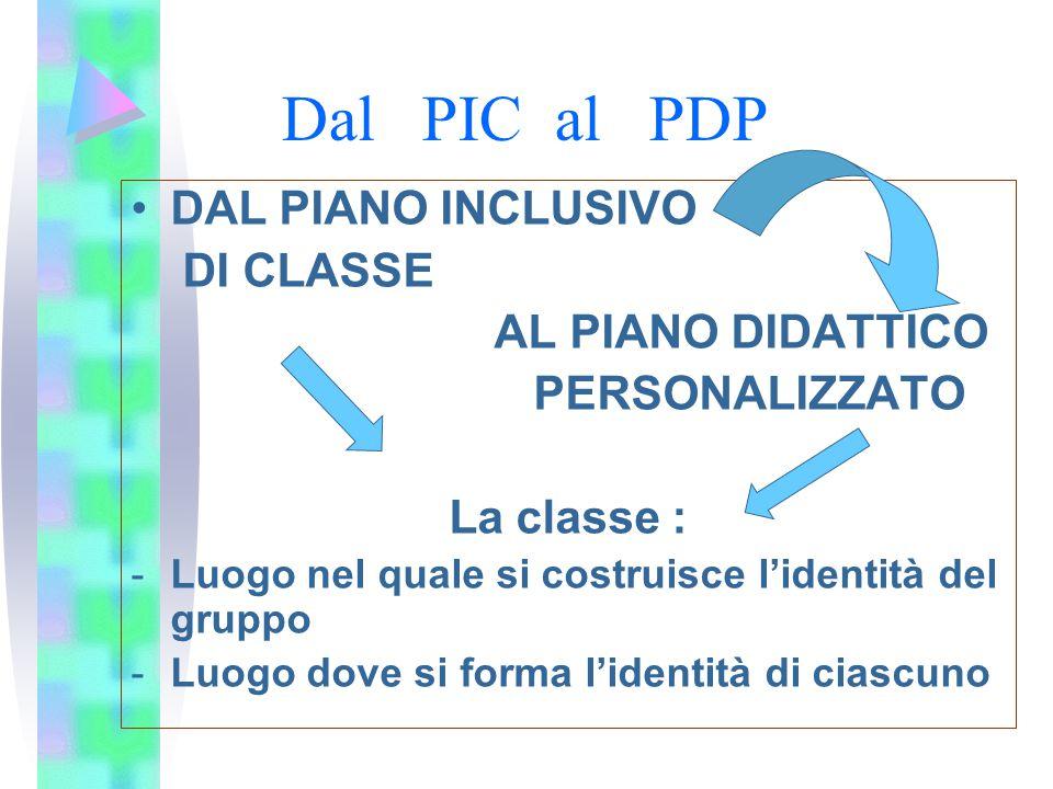 Dal PIC al PDP DAL PIANO INCLUSIVO DI CLASSE AL PIANO DIDATTICO