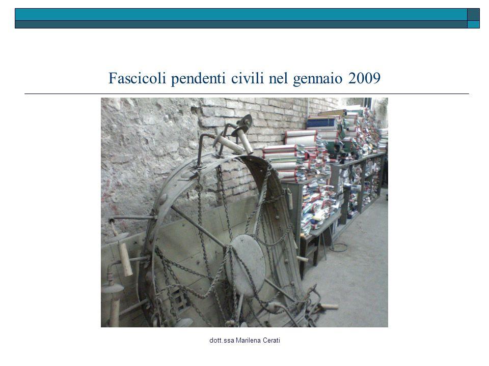 Fascicoli pendenti civili nel gennaio 2009