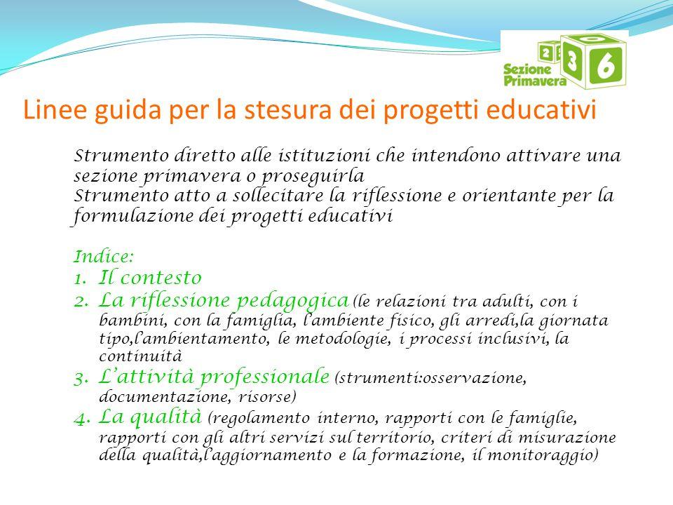 Linee guida per la stesura dei progetti educativi