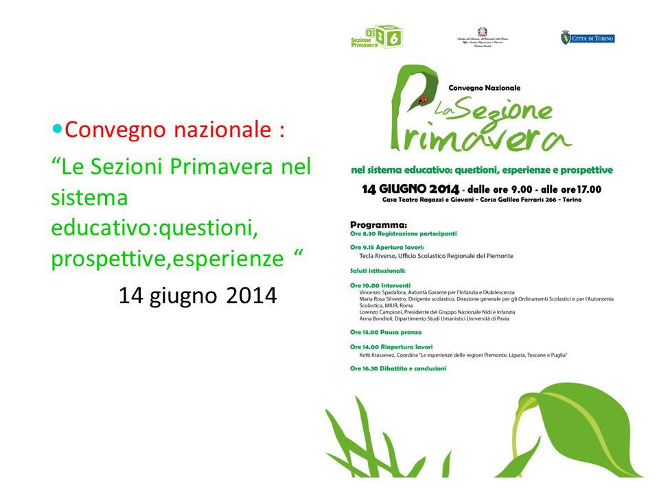 Convegno nazionale : Le Sezioni Primavera nel sistema educativo:questioni, prospettive,esperienze