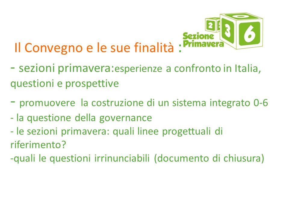 Il convegno e le sue finalità : - sezioni primavera:esperienze a confronto in Italia, questioni e prospettive - promuovere la costruzione di un sistema integrato 0-6 - la questione della governance - le sezioni primavera: quali linee progettuali di riferimento.