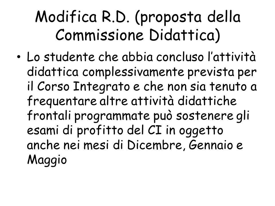 Modifica R.D. (proposta della Commissione Didattica)