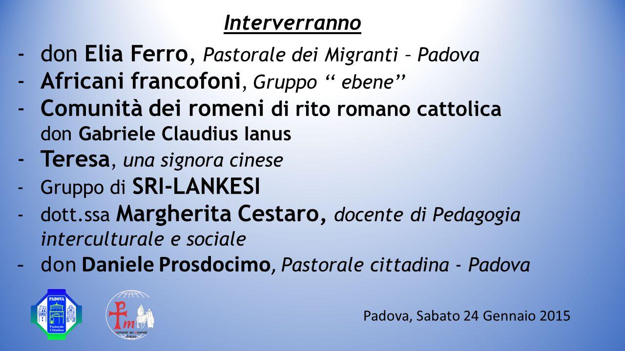 don Elia Ferro, Pastorale dei Migranti – Padova
