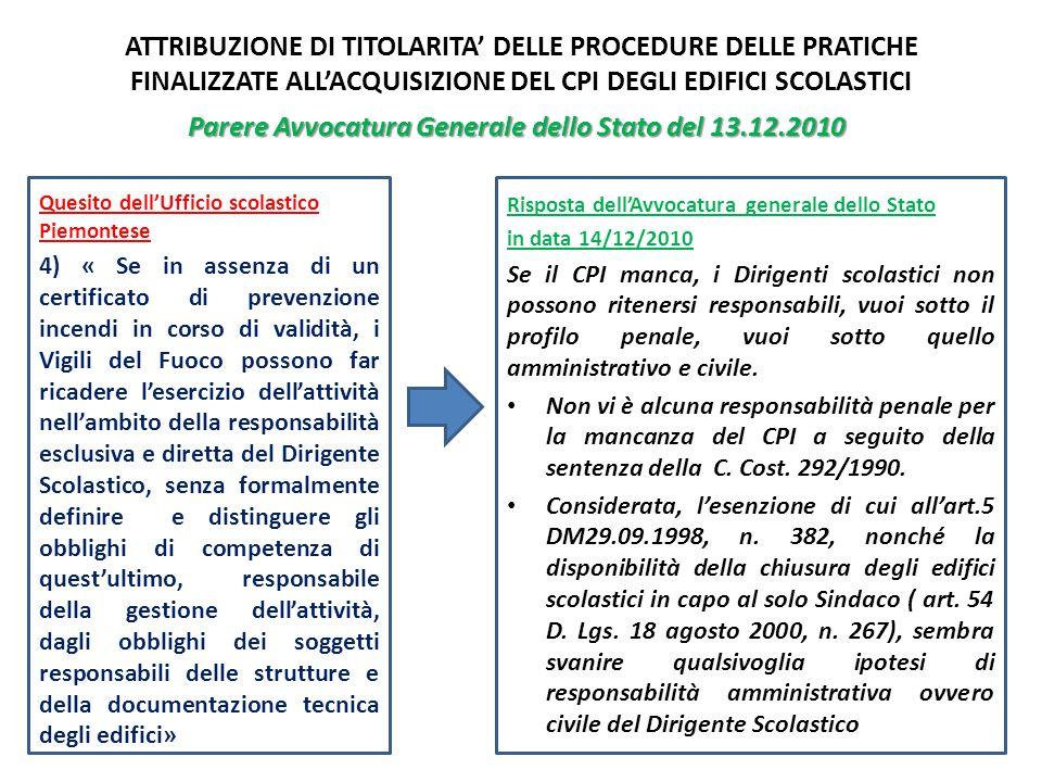 Parere Avvocatura Generale dello Stato del 13.12.2010