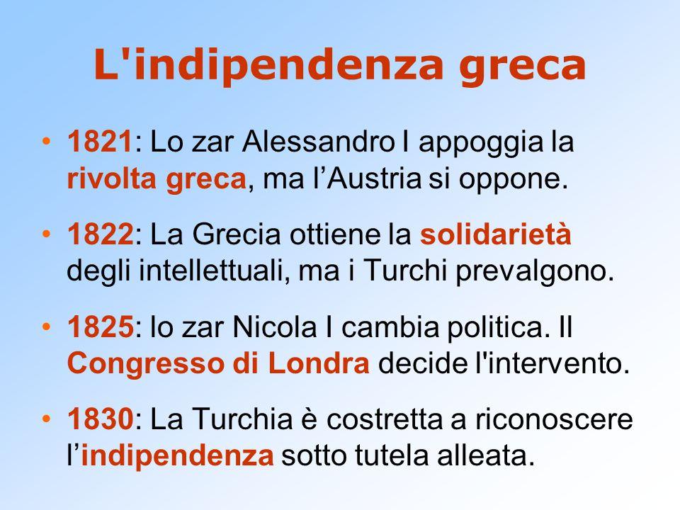 L indipendenza greca 1821: Lo zar Alessandro I appoggia la rivolta greca, ma l'Austria si oppone.